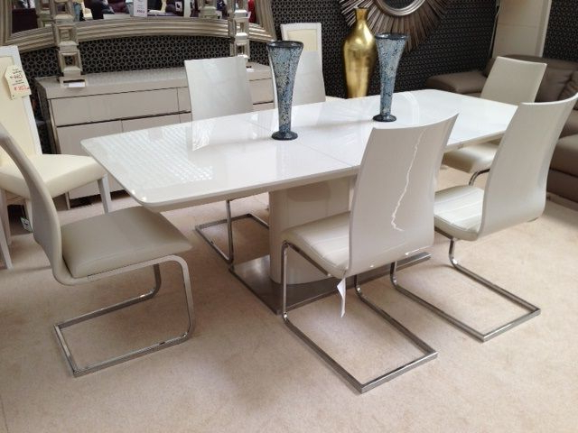 2017 Floris Extending Dining Table Cream (View 1 of 20)