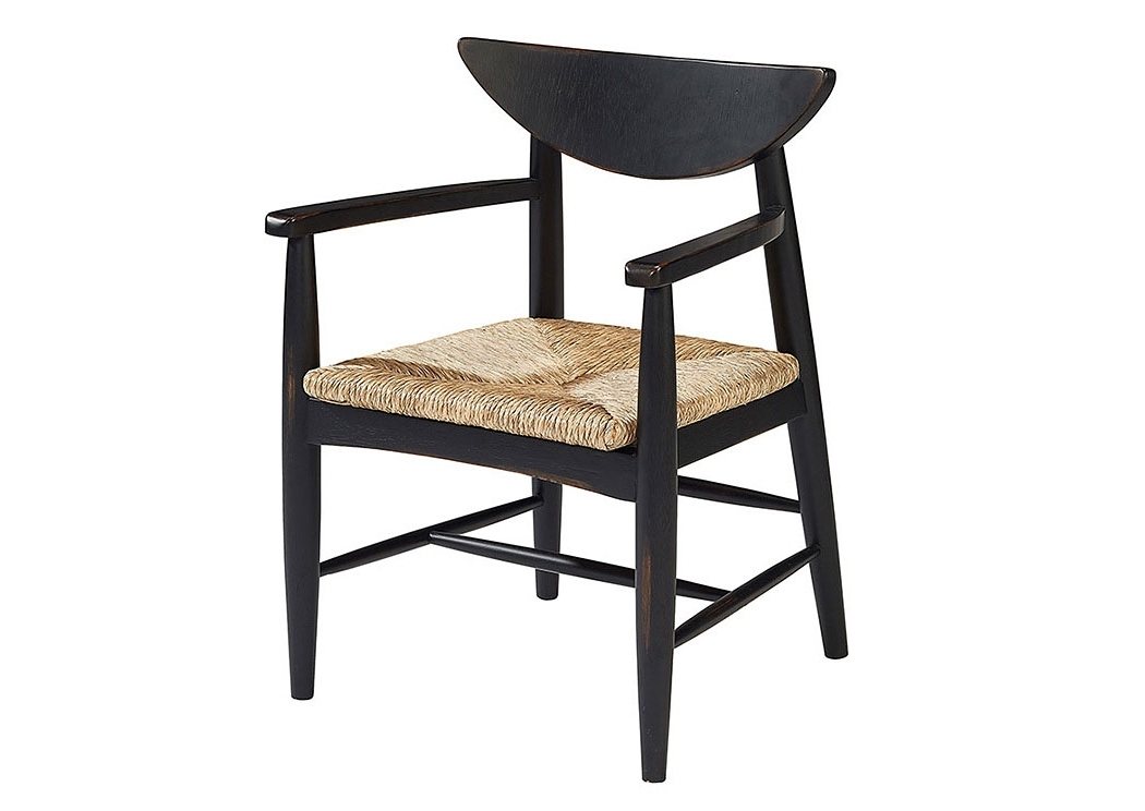 2017 Furniture & More Galleries Reed Woven Arm Chair, Chimney Finish With Magnolia Home Entwine Rattan Side Chairs (View 4 of 20)