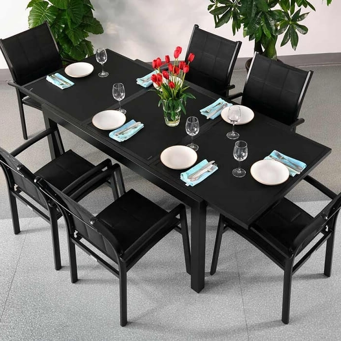 2017 Garden Table Set Daisy Black – 6 Person Aluminium & Glass Patio With 6 Seater Glass Dining Table Sets (Gallery 12 of 20)