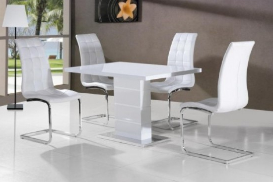 2017 Giatalia Ice White Gloss Dining Table With 4 Enzo White Faux Leather With Regard To White Gloss Dining Room Tables (Gallery 3 of 20)