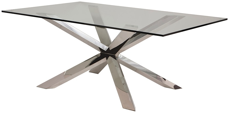 2017 Glass And Stainless Steel Dining Tables With Couture Glass Dining Table (View 10 of 20)