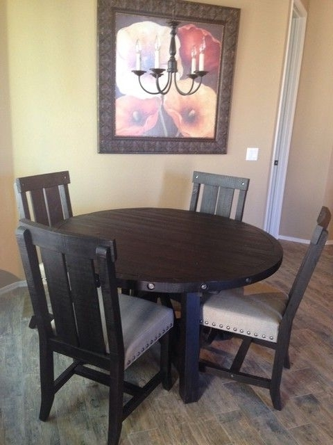 2017 Jaxon 5 Piece Extension Round Dining Set W/wood Chairs (Gallery 5 of 20)