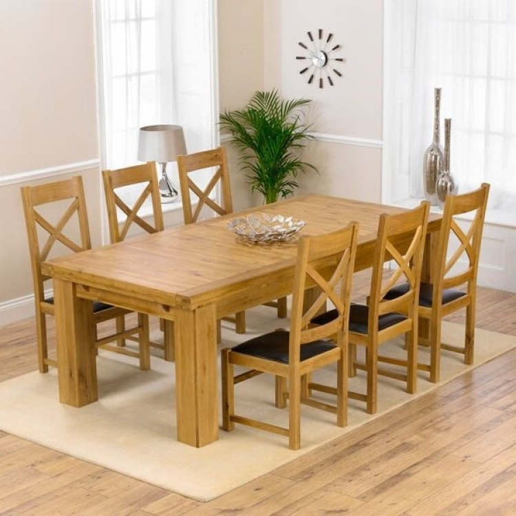 2017 Laurent Oak 230cm Xl Dining Table & Canterbury Chairs Set Intended For Laurent Upholstered Side Chairs (View 19 of 20)