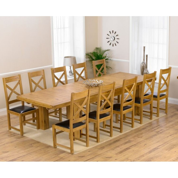 2017 Laurent Rectangle Dining Tables In Laurent Oak 230cm Xl Dining Table & Canterbury Chairs Set (View 16 of 20)