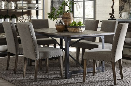 2017 Liberty Caldwell Dining Brown Trestle Dining Room Set – Caldwell Within Craftsman 7 Piece Rectangular Extension Dining Sets With Arm & Uph Side Chairs (Gallery 16 of 20)