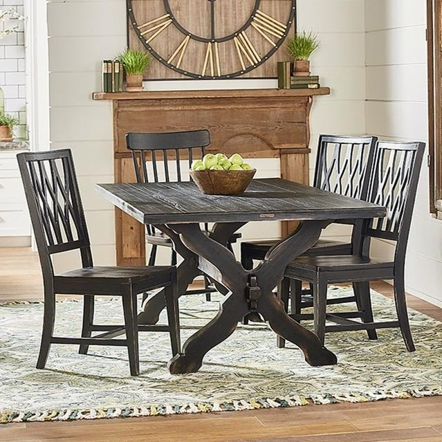 2017 Magnolia Home Sawbuck Dining Tables In Rustic Trestle Table And Chair Setmagnolia Homejoanna Gaines (Gallery 1 of 20)