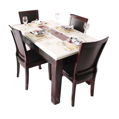 2017 Marble Dining Tables Sets For Marble Top 4 Seater Dining Table Set, Wooden Dining Room Set, Wooden (Gallery 20 of 20)