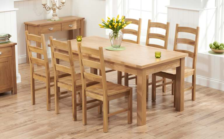 2017 Oak Dining Tables With 6 Chairs Regarding Oak Dining Table Sets (Gallery 2 of 20)