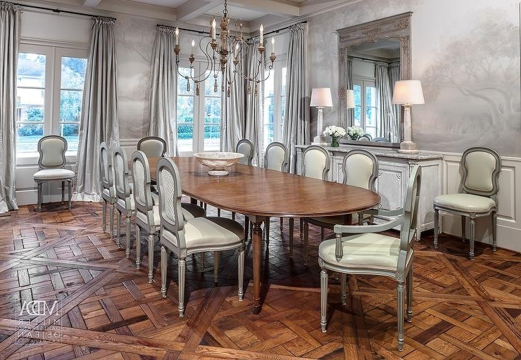 2017 Oval Dining Table With Gray French Dining Chairs – French – Dining Room With Parquet Dining Chairs (View 1 of 20)