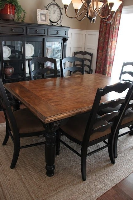 2017 Paint Dining Room Set Black – Leave Top As Wood And Glass – (Gallery 19 of 20)
