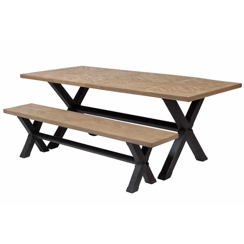 2017 Parquet Dining Tables Regarding Ghent Hc4533A01 Natural Mango Parquet Dining Table And Bench With (Gallery 5 of 20)