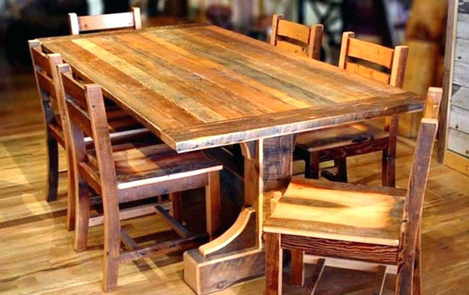 2017 Plain Decoration Rustic Wood Dining Room Table Barn Wood Dining Room With Regard To Jaxon Grey 5 Piece Round Extension Dining Sets With Wood Chairs (View 15 of 20)