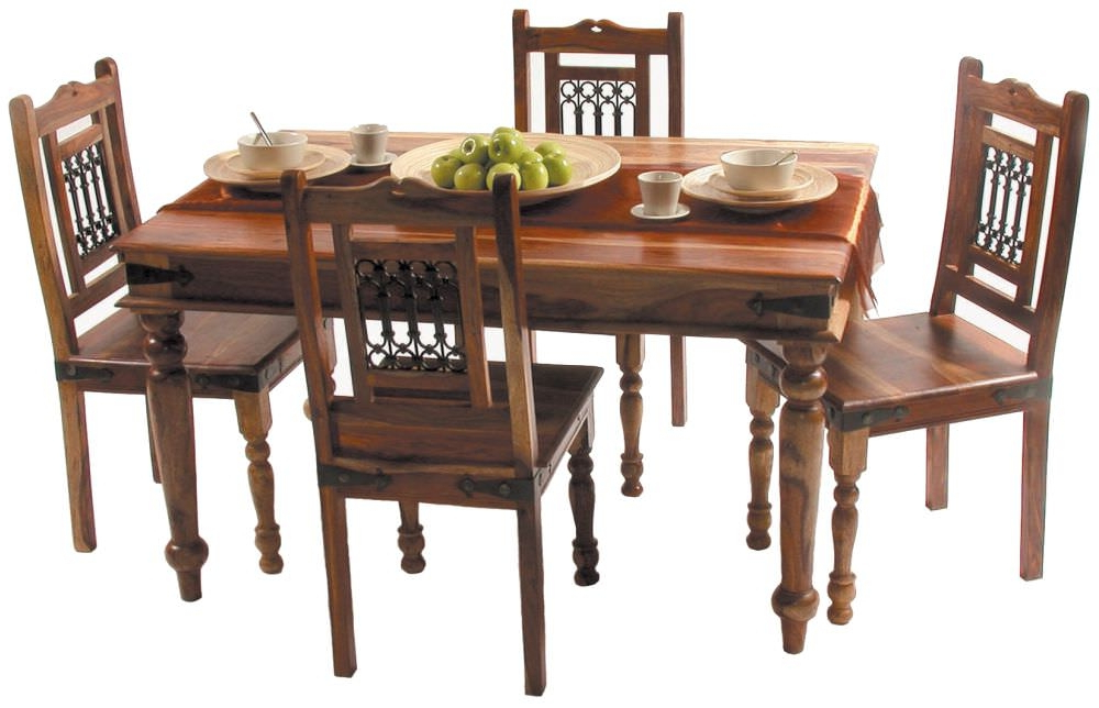 2017 Sheesham Dining Tables And 4 Chairs Within Buy Jaipur Jali Sheesham Small Dining Set With 4 Chairs – 135cm (View 10 of 20)