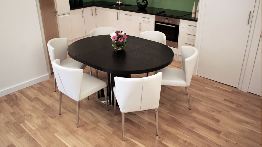 2017 Sleek Dining Tables In Black Ash Round Extending Dining Table (View 15 of 20)