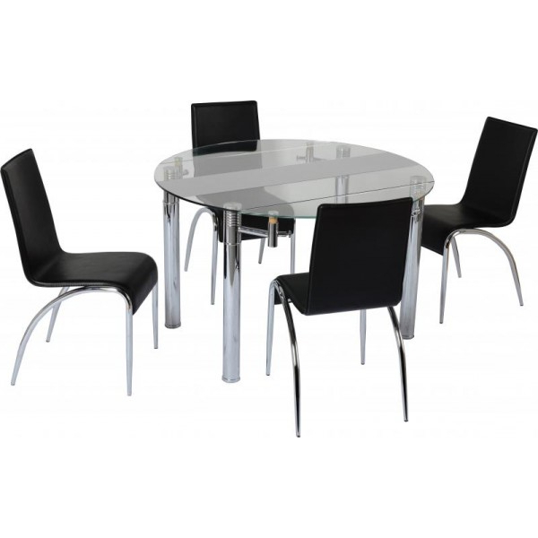2017 Small Extending Dining Tables And Chairs In Etienne Oak Small Extending Dining Table And 4 Chairs Dining Chair (View 1 of 20)