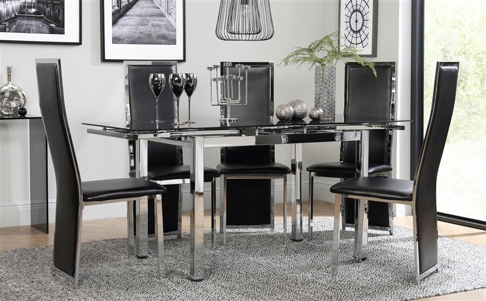 2017 Space Chrome & Black Glass Extending Dining Table With 6 Celeste Inside Black Glass Extending Dining Tables 6 Chairs (View 1 of 20)