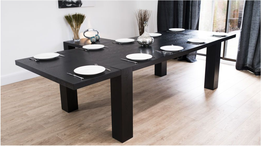 2017 Spectacular Modern Large Extending Black Ash Dining Table Chunky With Extending Dining Tables With 14 Seats (Gallery 12 of 20)
