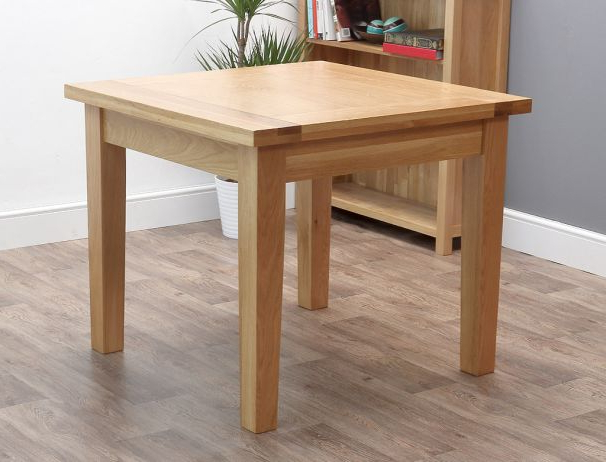 2017 Square Oak Dining Tables Regarding Denver Square Oak 90Cm Dining Table (View 2 of 20)