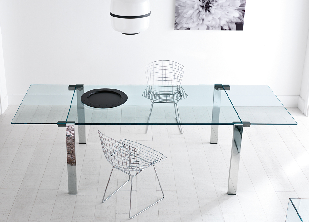 2017 Tonelli Livingstone Extending Glass Dining Table – Extending Glass Throughout Glass Folding Dining Tables (View 2 of 20)