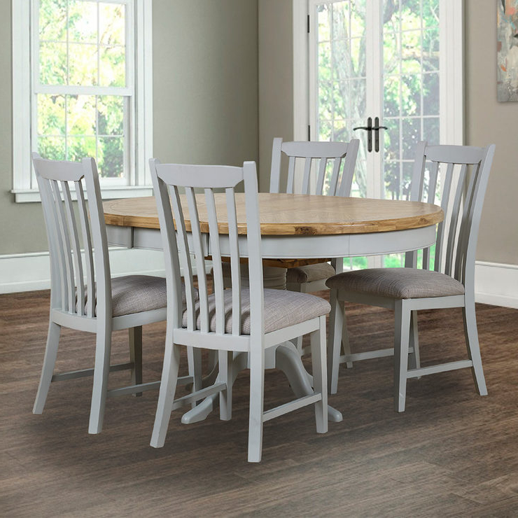 2017 Toulouse Painted Light Grey Round Extending Dining Table + 4 Chairs With Extending Dining Tables And 4 Chairs (Gallery 20 of 20)