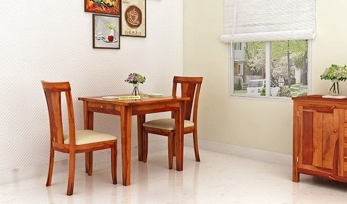 2017 Two Seater Dining Tables And Chairs Intended For Buy Mcbeth Storage 2 Seater Dining Table Set (Honey Finish) Online (Gallery 17 of 20)