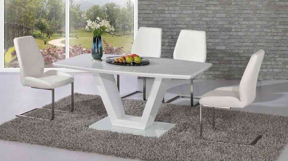 2017 White Glass Dining Tables And Chairs Pertaining To Full White Glass / High Gloss Dining Table & 4 Chairs Homegenies (View 5 of 20)
