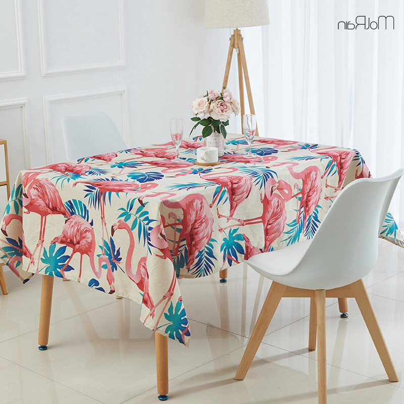 2018 1Pcs Tropical Plants Flamingo Tablecloth Indian Style Decorative Within Indian Style Dining Tables (View 3 of 20)