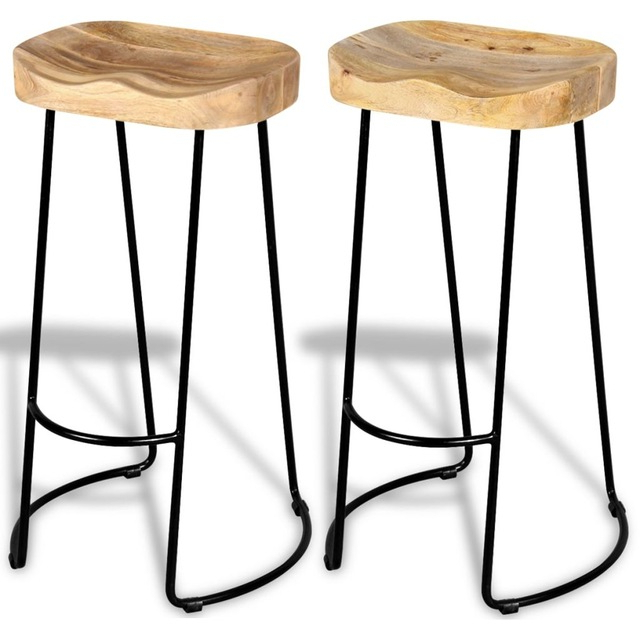 2018 2pcs Industrial Style Gavin Bar Stools Solid Wood Top Dining Chair Throughout Gavin Dining Tables (View 17 of 20)
