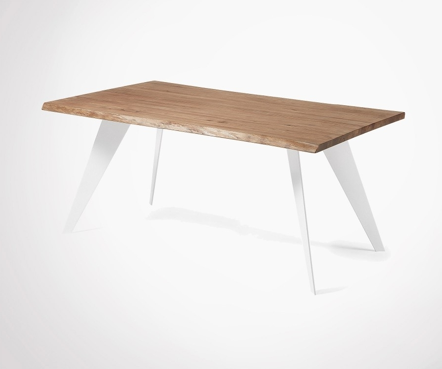 2018 Aged Oak Top Dining Table 180cm With Metal Feet With Regard To 180cm Dining Tables (View 11 of 20)