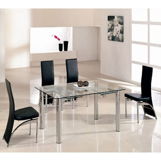 2018 Alicia Extending Dining Table In Clear Glass With Chrome Throughout Glass Extending Dining Tables (View 1 of 20)