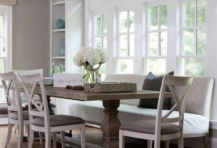 2018 Bench With Back For Dining Tables In Dining Table With Upholstered Bench And Chairs – Transitional (View 7 of 20)