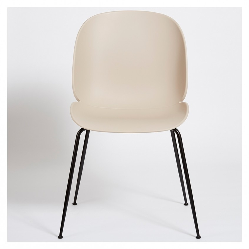 2018 Black Dining Chairs Intended For Beetle Dining Chair Un Upholstered New Beige With Black Legs – The (Gallery 20 of 20)