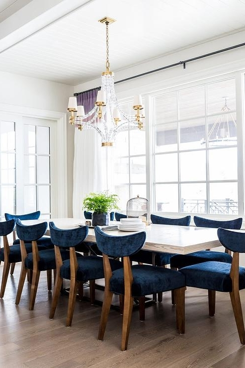 2018 Blue Dining Tables With White Wood Dining Table With Blue Velvet Dining Chairs (Gallery 3 of 20)