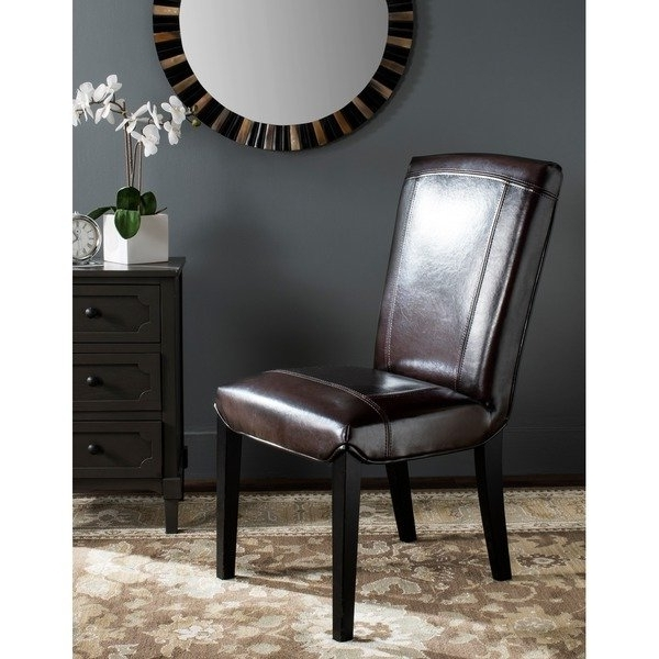 2018 Bowery Ii Side Chairs Throughout Shop Safavieh Parsons Dining Bowery Brown Marbled Leather Dining (Gallery 2 of 20)