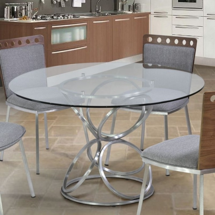 """2018 Brooke 48"""" Round Dining Table In Brushed Stainless Steel Finish With Inside Brushed Steel Dining Tables (View 6 of 20)"""