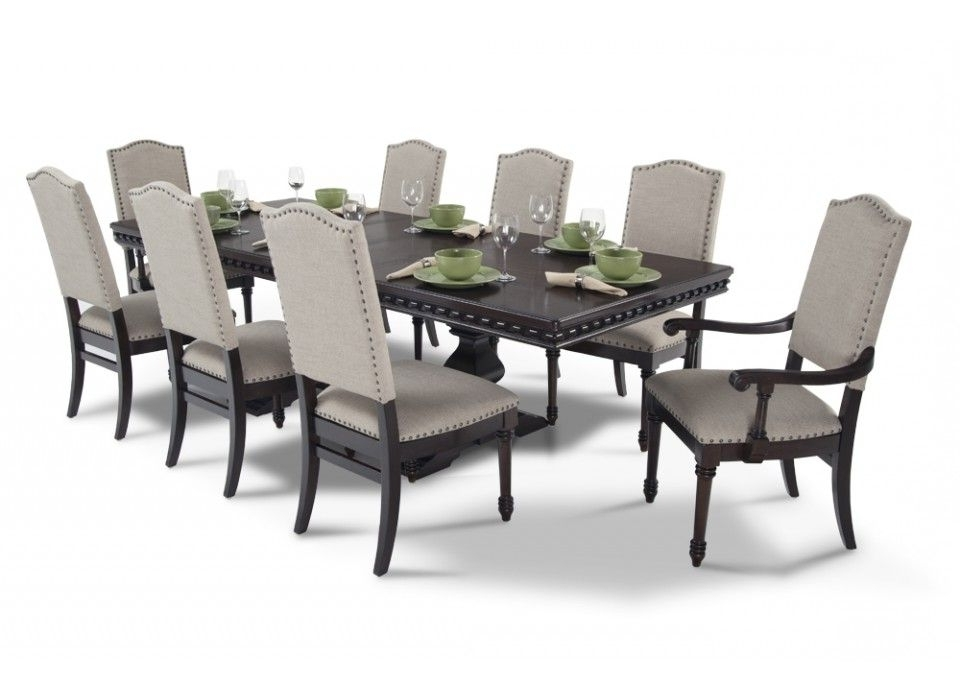2018 Candice Ii 7 Piece Extension Rectangular Dining Sets With Uph Side Chairs Throughout Bristol 9 Piece Dining Set In (View 12 of 20)