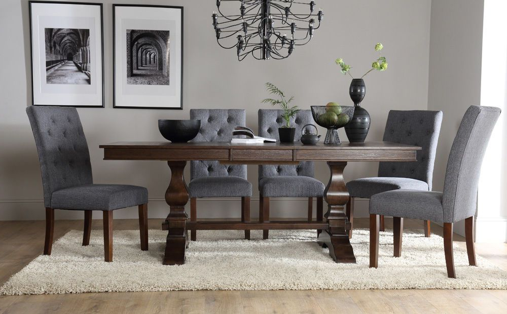 2018 Cavendish & Hatfield Extending Dark Wood Dining Table & 4 6 8 Chairs Intended For Dark Wood Dining Tables And 6 Chairs (Gallery 9 of 20)