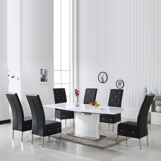 2018 Clintock High Gloss Dining Table And 6 Asam Black Chairs Pertaining To White Gloss Dining Chairs (View 2 of 20)