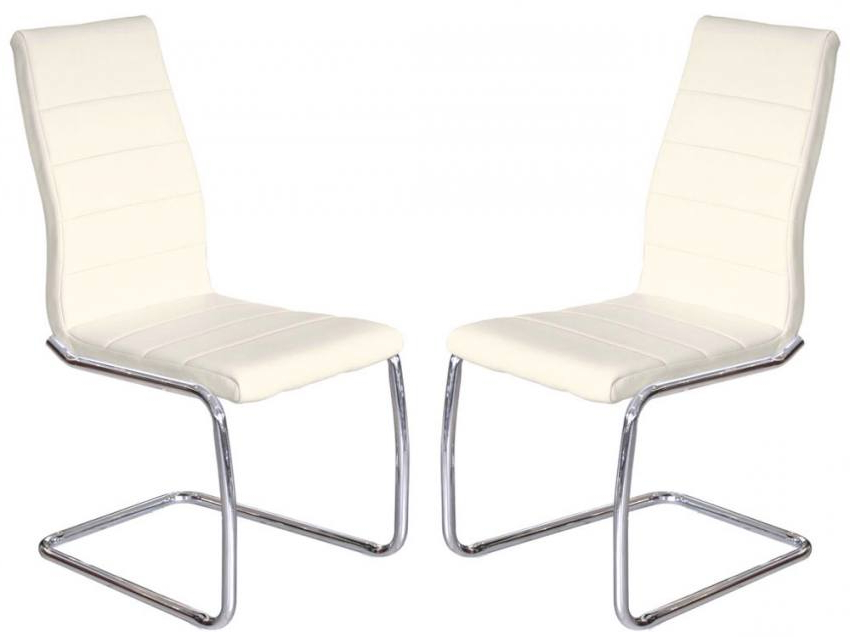 2018 Cream Faux Leather Dining Chairs Pertaining To Febland – Svenska Steel Chrome Frame Dining Chairs – Cream Faux (View 1 of 20)