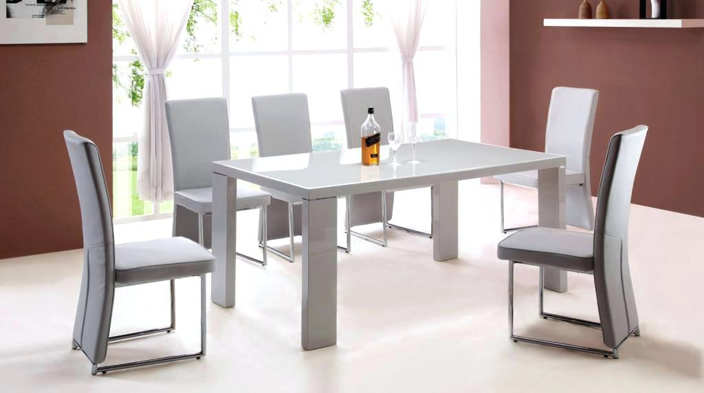 2018 Cream Gloss Dining Tables And Chairs Regarding Gloss Dining Table Sets White Dining Table And Chairs White Kitchen (View 15 of 20)