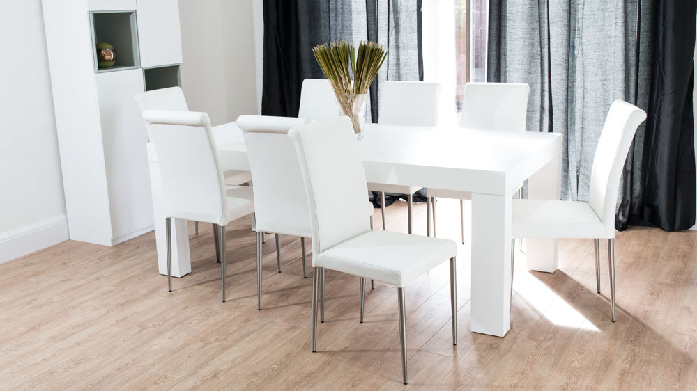 2018 Dining Tables With Large Legs With Modern Chunky White Oak Dining Table And Real Leather Chairs (Gallery 17 of 20)
