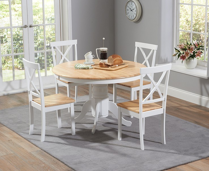 2018 Elstree 120Cm Painted Oak & White Round Dining Table + 4 Chairs Pertaining To Oak Round Dining Tables And Chairs (View 1 of 20)