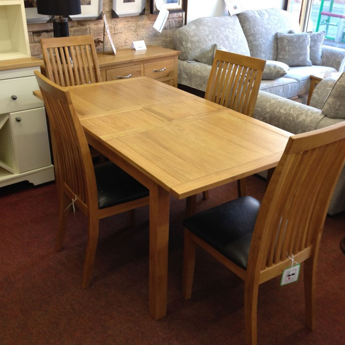 2018 Extendable Dining Table And 4 Chairs For Wharfdale Extending Oak D Solid Oak Dining Table And 4 Chairs (View 2 of 20)