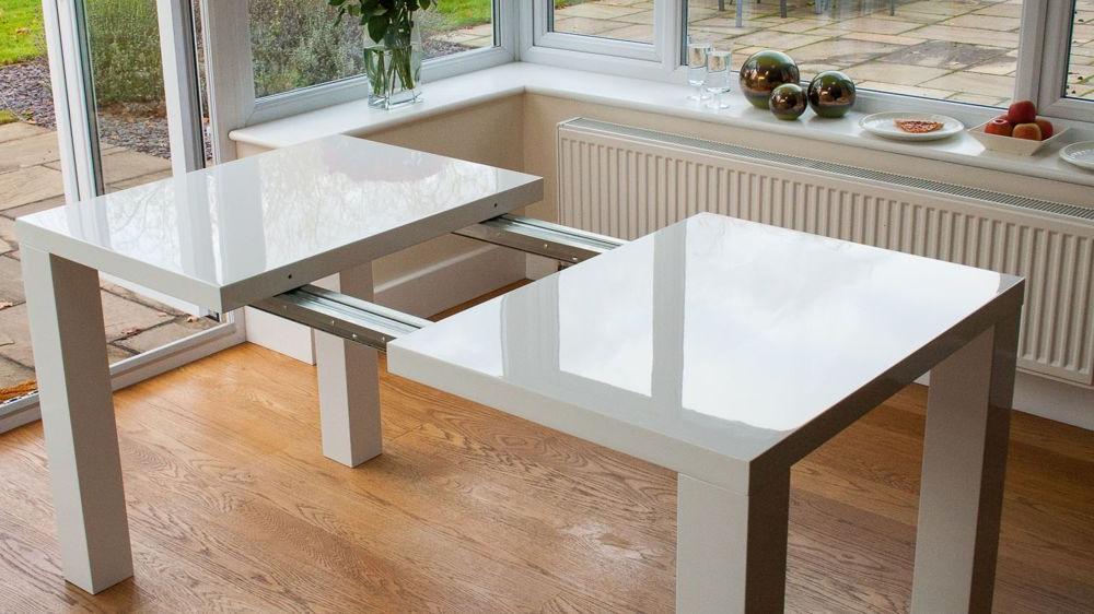 2018 Fern White Gloss Extending Dining Table (Gallery 6 of 20)