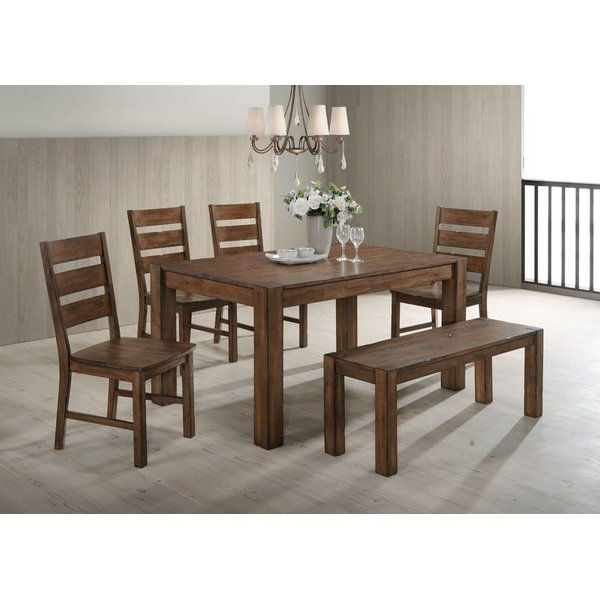 2018 Great Casual Rustic Solid Wood Thornton 6 Piece Dining Set In Laurent 7 Piece Rectangle Dining Sets With Wood Chairs (View 13 of 20)
