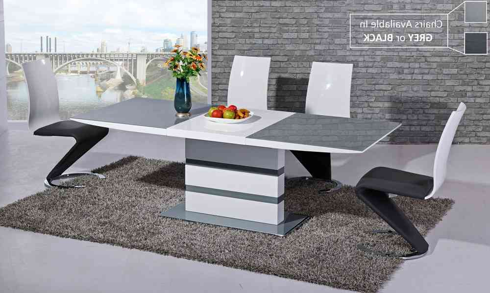 2018 Grey Glass White High Gloss Dining Table And 8 Chairs  Homegenies Throughout High Gloss White Dining Chairs (Gallery 20 of 20)