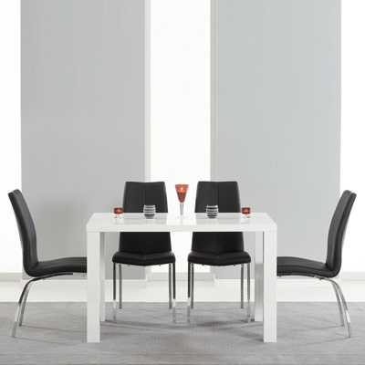 2018 High Gloss White Dining Tables And Chairs Within Avanti 120Cm High Gloss White Dining Table With 4 Carter Black Chairs (Gallery 19 of 20)