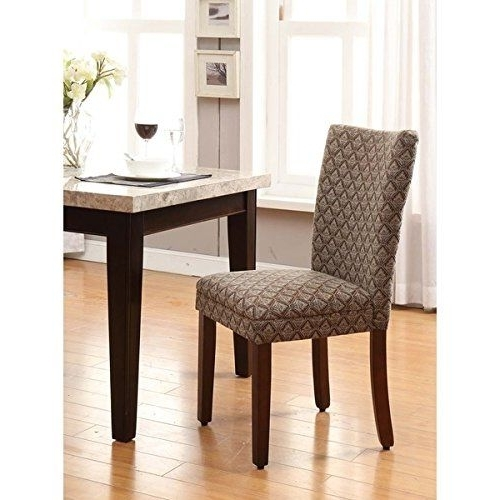 2018 Homepop Modern Parson Blue/ Chocolate Damask Diamond Fabric Dining Within Caira Black Upholstered Diamond Back Side Chairs (View 8 of 20)