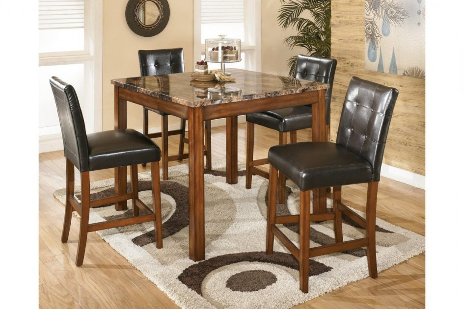 2018 Hyland 5 Piece Counter Sets With Stools With Regard To Counter Height Dining Room Table And Bar Stools Ashley Furniture 5Pc (Gallery 12 of 20)