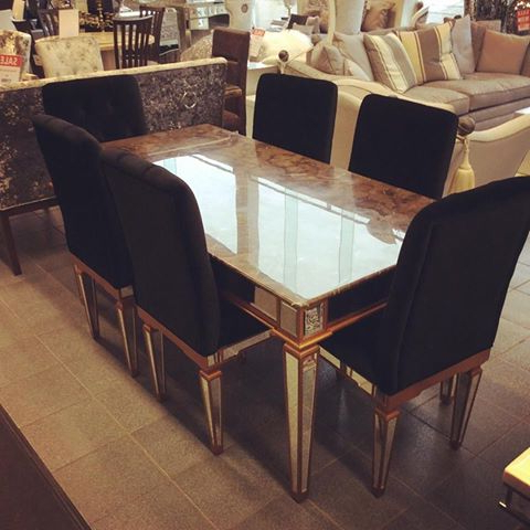 2018 Imperial Dining Tables Inside Imperial Marble Table And 6 Chairs – Home Living (View 1 of 20)